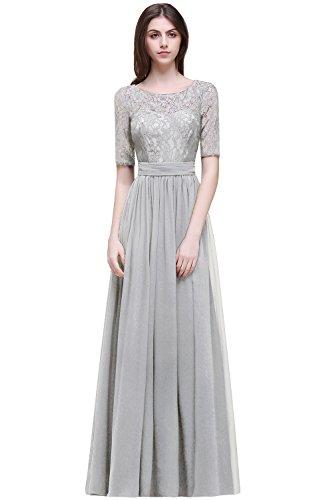 MisShow Damen elegant Abendkleider lang Chiffon Ballkleider Abschlusskleider Abiballkleider Silber 46