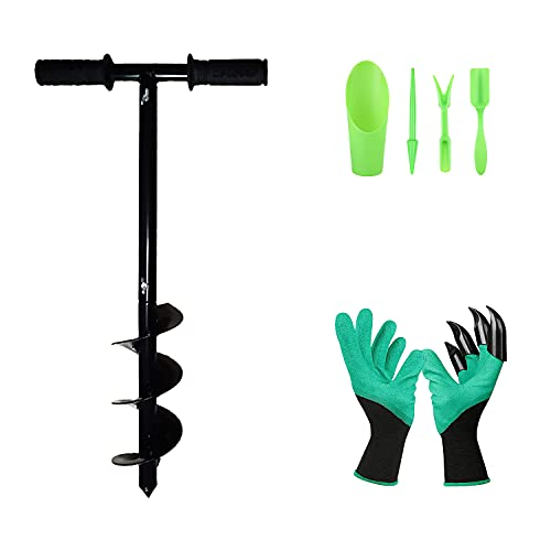 """Doremifaso Auger Drill Bit Set for Planting Include 4"""" X 24"""" Steel Spiral Hole Drill for Bulb & Bedding Plants Hand Cordless Post Hole Digger with 1pair Garden Rubber Gloves & 4pcs Mini Garden Tools"""