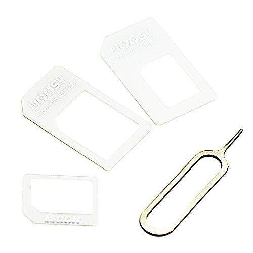 4 in 1 Nano SIM Adapter, voor iPhone 4/4S, voor iPhone 5/5S/5C, met Card Pin