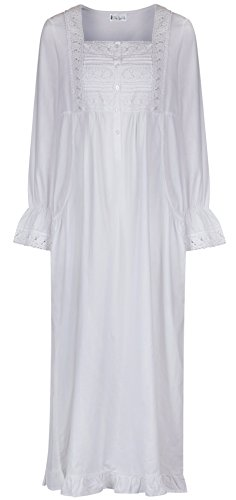 The 1 for U 100% Cotton Nightgown With Pockets - Isabella (XXL) White