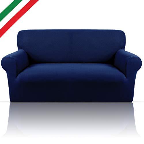 ALWYNG Copridivano Bielastico Elegante in Morbido Tessuto Cotone Puro Elasticizzato Adattabile Solo A Braccioli Tondi O Squadrati Made in Italy Copri Divano Estensibile 3 Posti (da 180 a 210cm) Blu