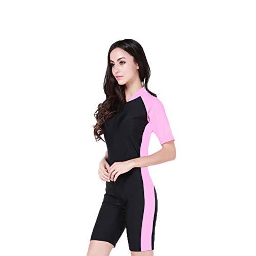 iYmitz Damen Einteiliger Surfanzug Sommer UV Schutz Badeanzug Badebekleidung Wassersport Anzug Schnelltrocknend Wetsuit für Frauen(Rosa,L)