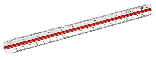Wedo 5255001 Dreikantmaßstab (Architekt 1, aus Kunststoff, 30 cm, Skalierung 1:20, 1:25, 1:50, 1:75, 1:100, 1:125) weiß