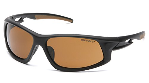 Carhartt Ironside Safety Glasses - Polybag Packaging, Black/Tan Frame, Sandstone Bronze Anti-Fog Lens