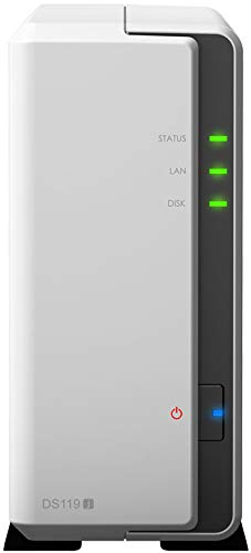 "Synology diskstation ds119j ethernet Torre Gris, Blanco NAS - Unidad Raid (Unidad de Disco Duro, 108 TB, Serial ata III, 2.5,3.5"", hfs+,ntfs,exfat,ext3,ext4, 0,8 GHz)."