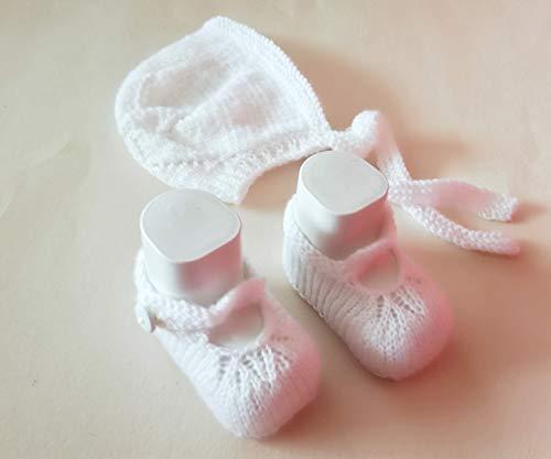 Babyschuhe und Babyhaube, Babymütze Taufkleidung im Set für die Kleinsten für Neugeborene