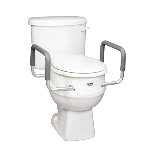 Product Image of the Carex 3.5 Inch Raised Toilet Seat with Arms - For Round Toilets - Elevated Toilet Riser with Removable Padded Handles, Easy On and Off, Support 250 lbs