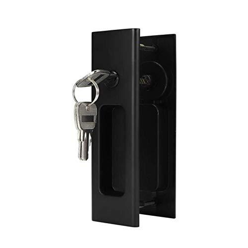 YUAN CHUANG Aleación de Zinc Puerta corredera Cerradura Latch Manija Conjunto Baño Balcón Gabinete Puerta Accesorios de Hardware Single Gancho Cerraduras de Puerta corredera (Color : Black)
