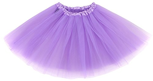 Simplicity Women's Classic Elastic 3 Layered Tulle Ballet Tutu Skirt, Lavender