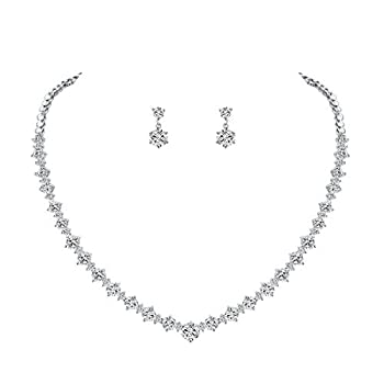 WeimanJewelry Silver/Gold Plated Women Cubic Zirconia Round Cut CZ Bridal Necklace and Drop Earring Set for Bride Wedding  Silver
