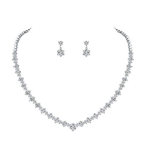 WeimanJewelry Silver/Gold Plated Women Cubic Zirconia Round Cut CZ Bridal Necklace and Drop Earring Set for Bride Wedding (Silver)