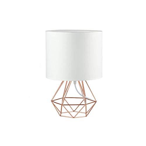 FRIDEKO HOME Vintage Mini Tischlampe - DIY Tischleuchte Modern Körbchenstil Stil Kreativer für Schlafzimmer Nachttischlampe Arbeitszimmer Office Weiß und Rose Golden 18cm
