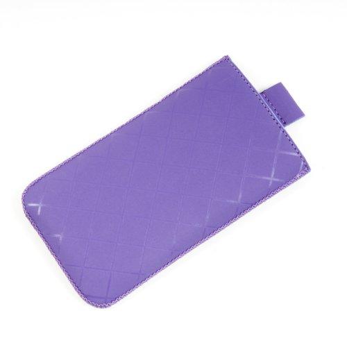 Valenta Etui offen - violett - mit Ausziehlasche & trendigem Karodesign für Motorola RAZR V3i