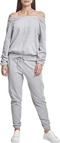 Urban Classics Damen Ladies Cold Shoulder Terry Jumpsuit, Grau (Grey 00111), Medium