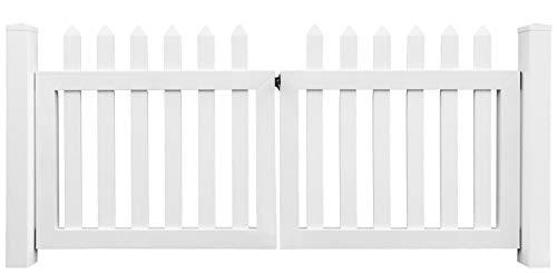 Arvotec Latten-Doppeltor Grado, weiß, BxH 300 x 100 cm, 2-flügelig, inkl. Pfosten, UV-beständiges Gartentor aus Kunststoff - passend zum Lattenzaun Grado