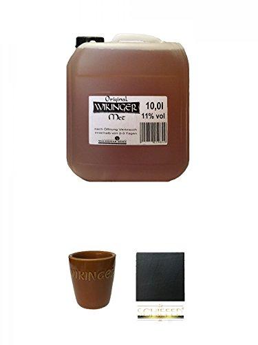 Wikinger Met Behn Honigwein 10 Liter Kanister + Wikinger Met Tonbecher 1 Stück + Schiefer Glasuntersetzer eckig ca. 9,5 cm Durchmesser