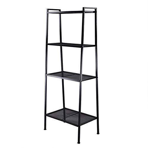 Towinle Ladder Shelf 4-Tier Storage Open Bookshelf Living Room Bathroom Metal Display Shelving for Industrial Accent Furniture, Black