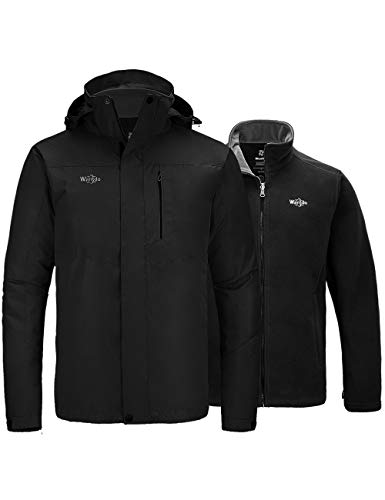 Wantdo Men's 3 in 1 Waterproof Ski Jacket Winter Warm Rain Coat Black Medium