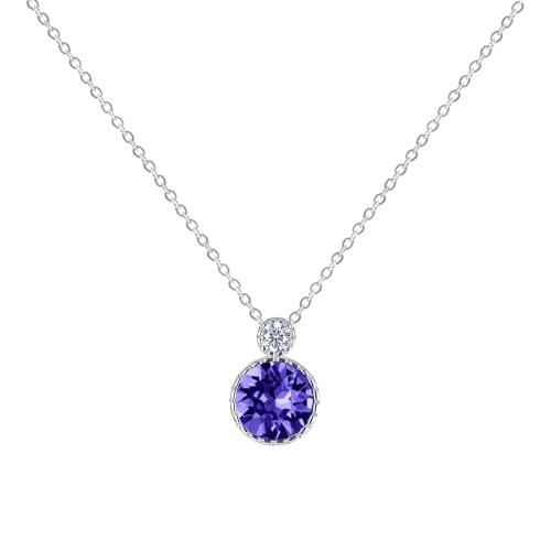AYZECHANG Collar con colgante de corazón de mar para mujer, plata de ley, con cristales austriacos, longitud de cadena de 46 cm, 12.37×8.81mm, Plata esterlina,