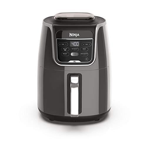 Ninja AF150AMZ Freidora de aire XL que freír de aire, asado al aire, hornea, recalienta, deshidrata con capacidad de 5.5 cuartos y un acabado brillante, gris
