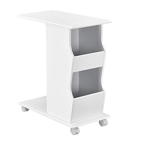 [en.casa] Beistelltisch mit Rollen und Staufächern 53x30x63cm Sofatisch Couchtisch Kaffeetisch Wohnzimmertisch Weiß