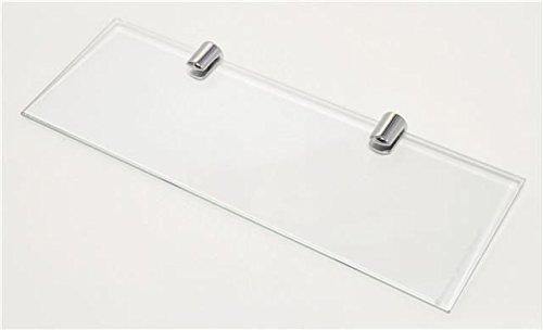 Estante de vidrio con acabado cromado, 300 x 100 mm, dos sop