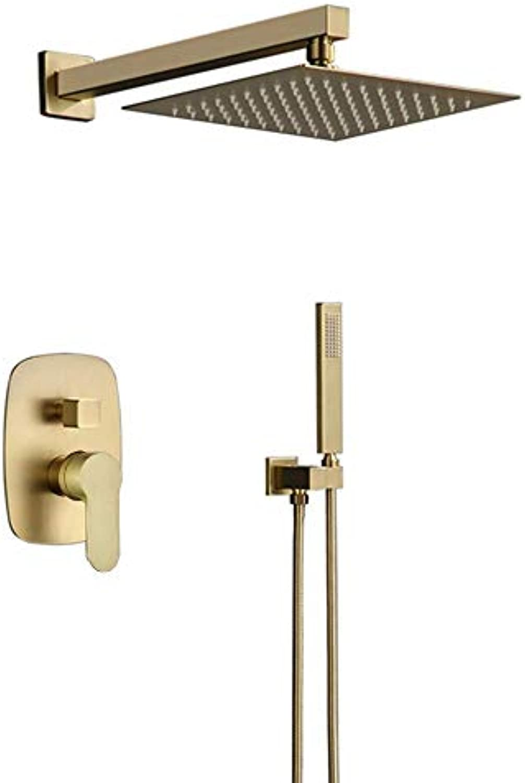 Duschsystem, Messing gebürstetem Gold Zeitgenssische Dusche Wasserhahn mit anderen Keramikventil Bad Dusche Badewanne Wasserhahn Set, 10 Zoll