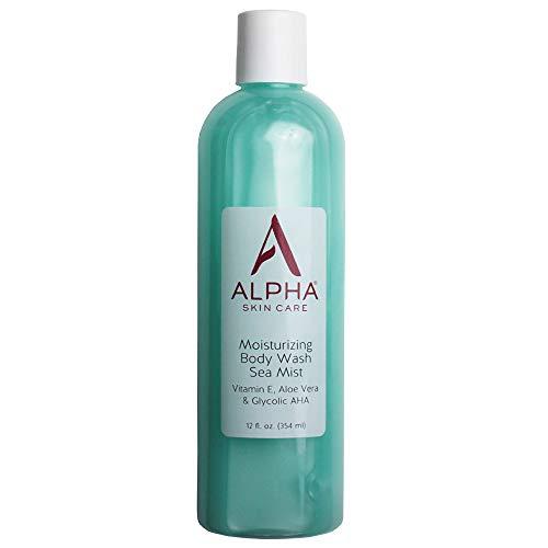 Alpha Skin Care Moisturizing Body Wash | Anti-Aging Formula | Glycolic Alpha Hydroxy Acid (AHA) | Vitamin E & Aloe Vera | Conditions & Soothes | For All Skin Types | 12 Fl Oz