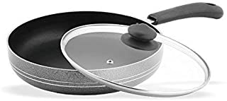 Sumeet Non Stick Aluminium Fry Pan with Glass Lid, Black Silver