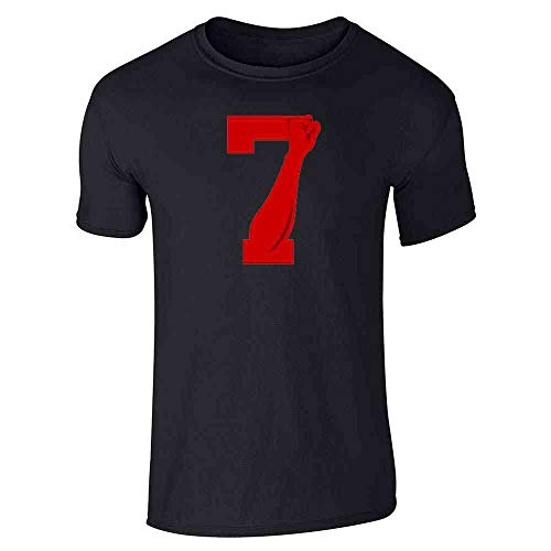 Power 7 Logo Red for Justice Fist Black L Graphic Tee T-Shirt for Men