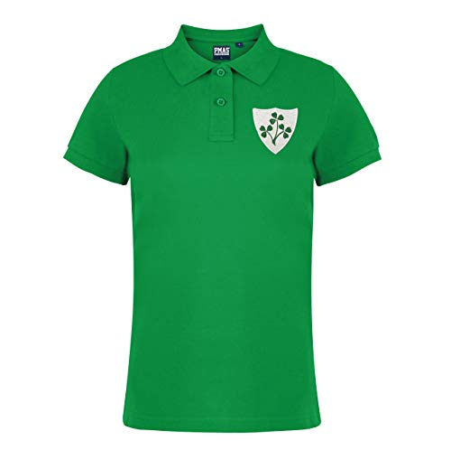 Damen Vintage gesticktem Wappen Irish Rugby Polo Shirt aus Print Me A Shirt in Kelly Grün Gr. Medium, Kelly