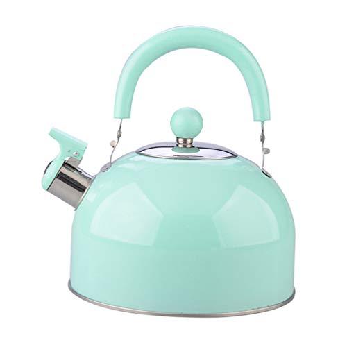 PIXNOR Hervidor de té silbido de acero inoxidable de 2,5 litros con mango ergonómico y calentador de agua no magnético para inducción eléctrica de gas, color aleatorio