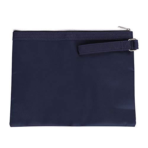 A4ファイルケース ドキュメントファイル 書類入れ ファスナーポケット 資料収納 保管袋 厚手 丈夫 帆布バッグ 取っ手付き 携帯に便利 ビジネス 整理バッグ 無地 おしゃれ オフィス用品 ブルー