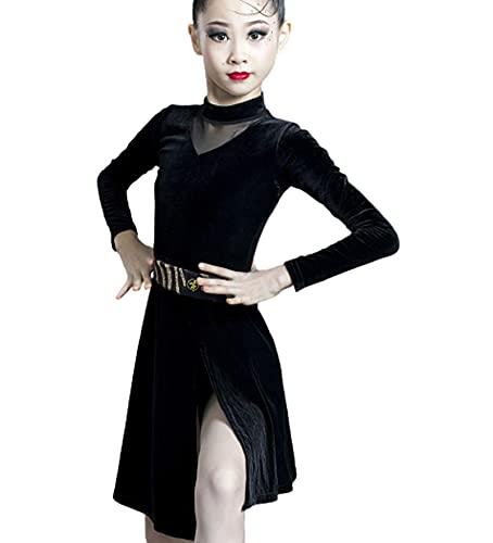ZYLL Vestido de Baile Latino para nia con Flecos y Flecos Tango Salsa Vestidos de saln para nias Competencia de Disfraces Latinos,Negro,XL