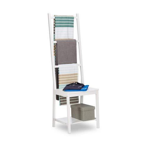 Relaxdays, Kleiderständer, Handtuchständer, Herrendiener, Badstuhl, Bambus, HxBxT: 133 x 40 x 42 cm, weiß Handtuchhalter, 42 x 40 x 133 cm