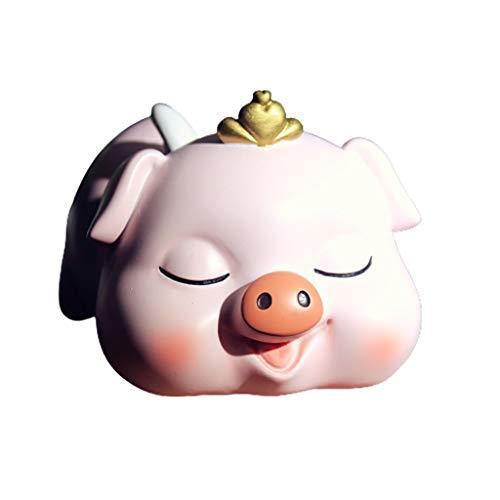 Dzwyc Huchas Gatos y Perros Dinero Banco, Lindo alcancía Resina Caja de Dinero Personalidad Moneda bancaria Ornamentos Regalo para niños niños niñas Caja de Efectivo (Color : Pig, tamaño : 2)