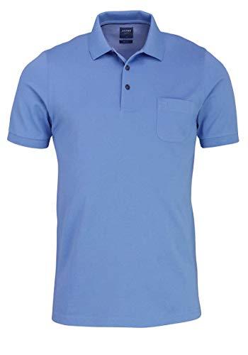 OLYMP Polo Halbarm geknöpfter Kragen Baumwolle Pique Mittelblau Größe S