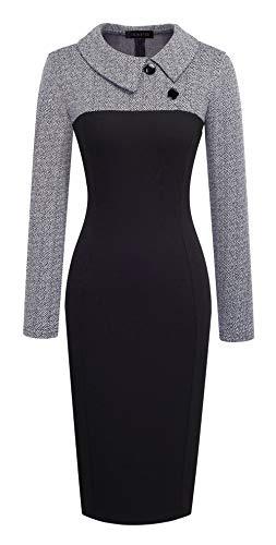HOMEYEE Women's Retro Chic Colorblock Lapel Career Tunic Dress B238 (XXL, Gray)