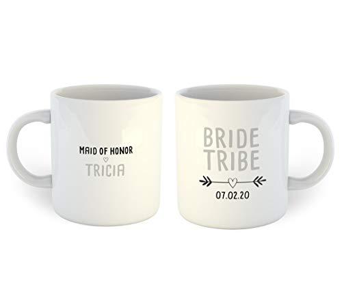 """Kaffeetasse mit Aufschrift """"Bride Tribe Maid of Honor"""" von Lplpol, weiß, 11 OZ"""