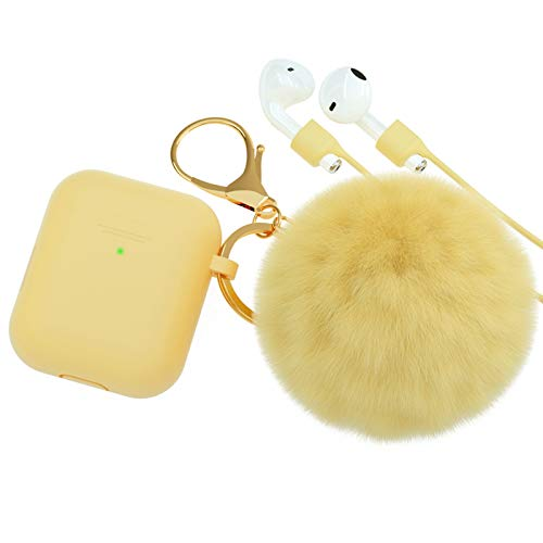 BRG for AirPods Case,Soft Cute Silicone Cover for Apple Airpods 2 & 1 Cases with Pom Pom Fur Ball Keychain/Strap/Accessories for Women Girls (Front LED Visible) Yellow