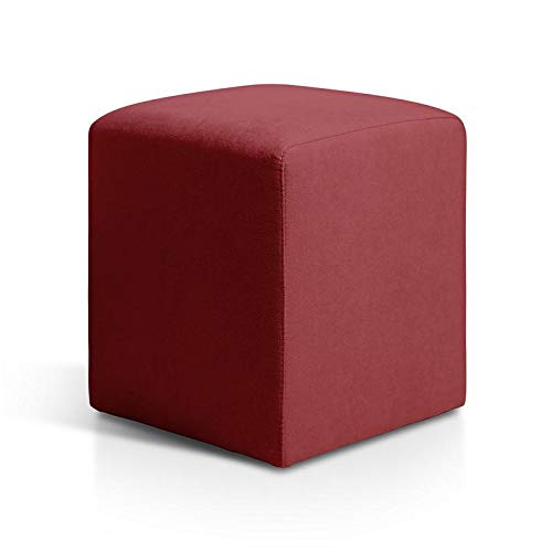 SUENOSZZZ-ESPECIALISTAS DEL DESCANSO Puff reposapiés Otto otomana tapizada en Tela Antimanchas Color Rojo