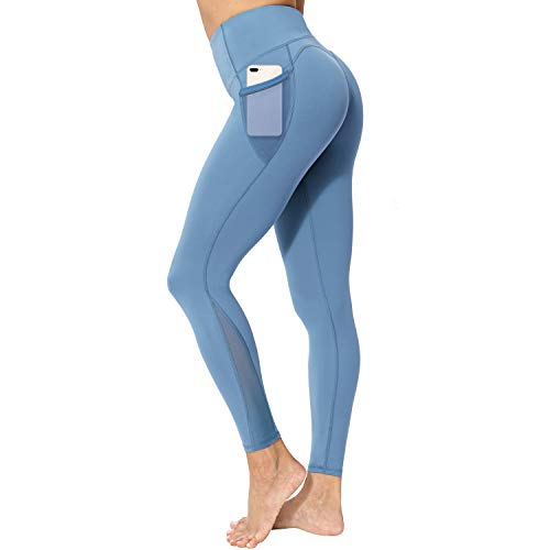 neppein Sport Leggings mit Taschen,Damen High Waist Blickdicht Leggings Sporthose Yogahose Fitnesshose, Blau, M