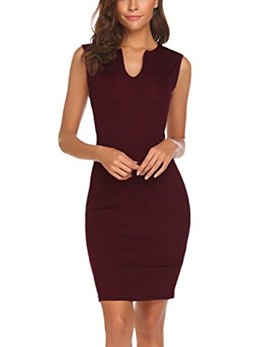 Naggoo Women's Business Wear to Work Sleeveless V Neck Bodycon Pencil Dress 01 Wine Red S