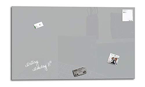 Smart Glass Board ® Pizarra de cristal magnética/Tablero de notas magnético en vidrio + 3 Imanes SuperDym + 1 Marcador, 90 x 45 cm, Gris ventana