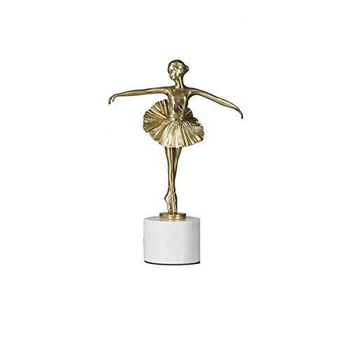 Home Garden Decor Ornament Brass Ballet Dancer Statue Golden Figure Sculpture Modern Luxury Hotel Living Room Decoration