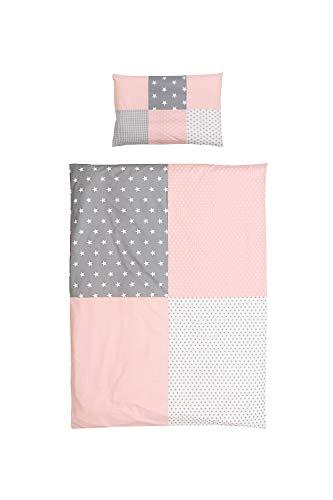 ULLENBOOM ® Kinderbettwäsche 100 x 135 cm Rosa Grau (Made in EU) - mit Kissenbezug (40x60 cm) und Deckenbezug (100x135 cm), Kinder- & Baby Bettwäsche aus Baumwolle, Design: Patchwork