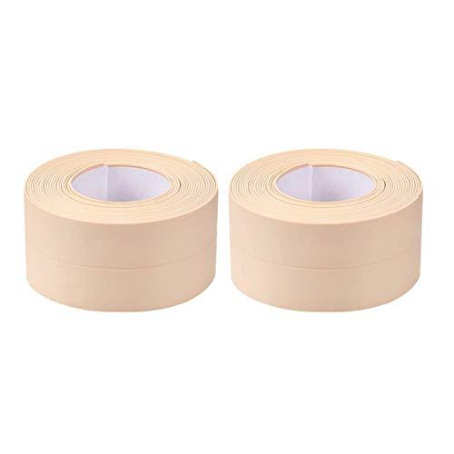 Globaldream Sigillante Autoadesivo, 2 Rotoli PVC Autoadesivo Vasca da bagno Caulk Striscia per vasca da Bagno Bagno Doccia Toilette Cucina 3,2 m x 38 mm(Beige)