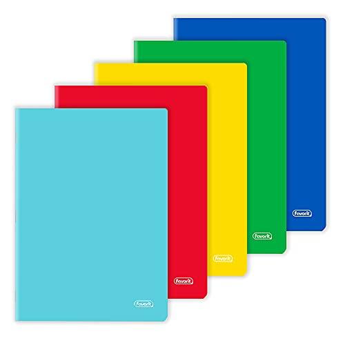 Favorit Quaderni A4, Copertina Monocolore, Rigatura Quadretti 5mm, Carta 80g/Mq, Pacco da 10 pezzi, Colori Assortiti