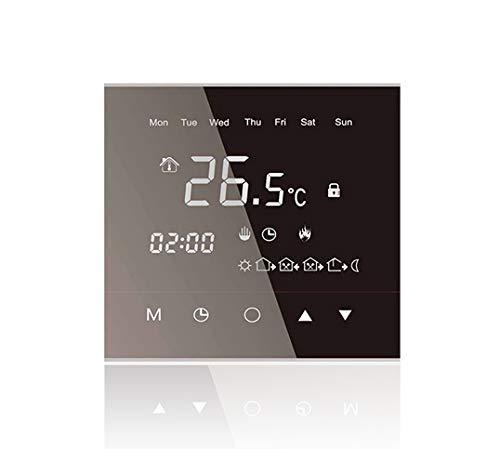 Termostato táctil Warm Life de diseño, termostato digital programable con sensor de temperatura interno y sensor de suelo, control de calefacción para suelo radiante
