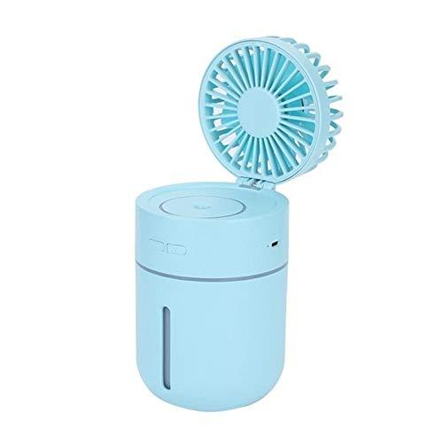 HYDKU Ventiladores USB Doble Uso Mini Ventilador de humidificación 400 ml Summer Magic Box Agua Recargable de Escritorio del refrigerador de la Herramienta (Color : Blue)